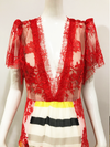 Cirque Gown | Red Lace and Striped Chiffon