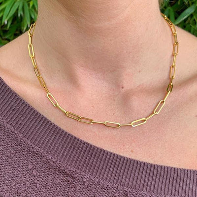 Gold Paperclip Chain Necklace | Christina Greene