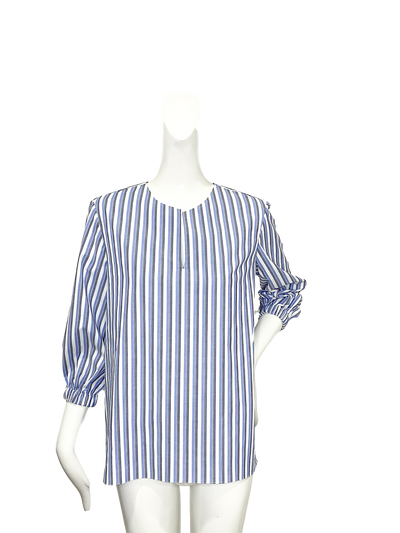 Tibo Top  | Gray and Blue Stripe