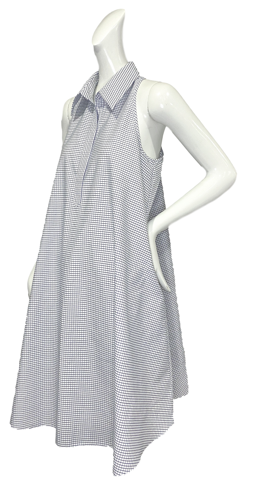 Perrine Dress | Blue & White Mini Windowpane