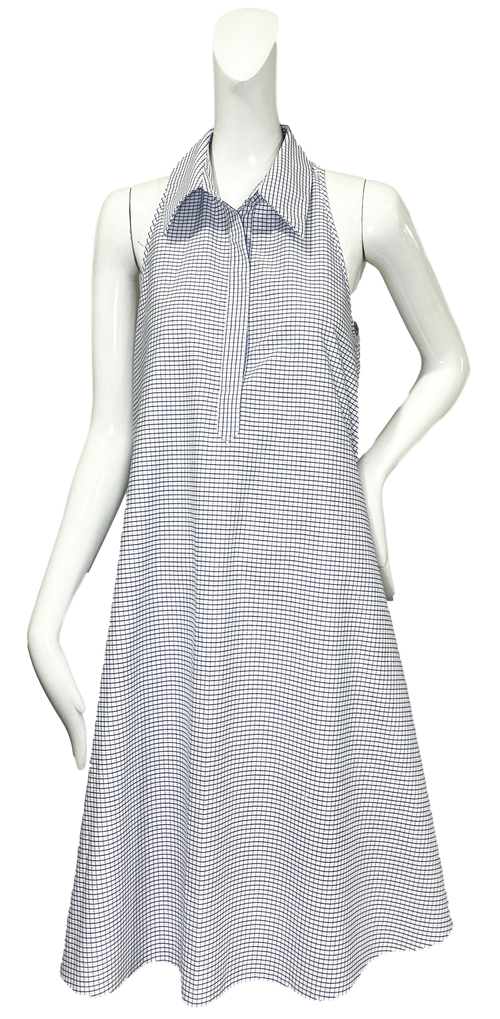 Perrine Dress | Blue & White Mini Windowpane Cotton