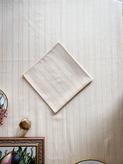 Napkin | Goldenrod and Cream Herringbone Stripe