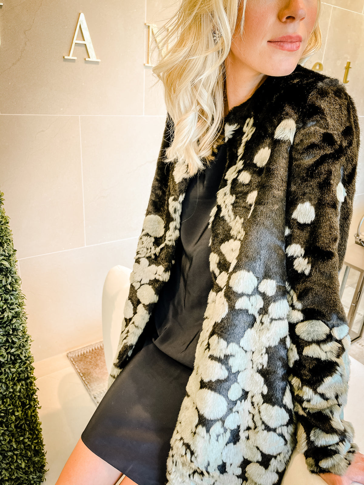 Monet Coat | Black with Floral Design Faux Fur