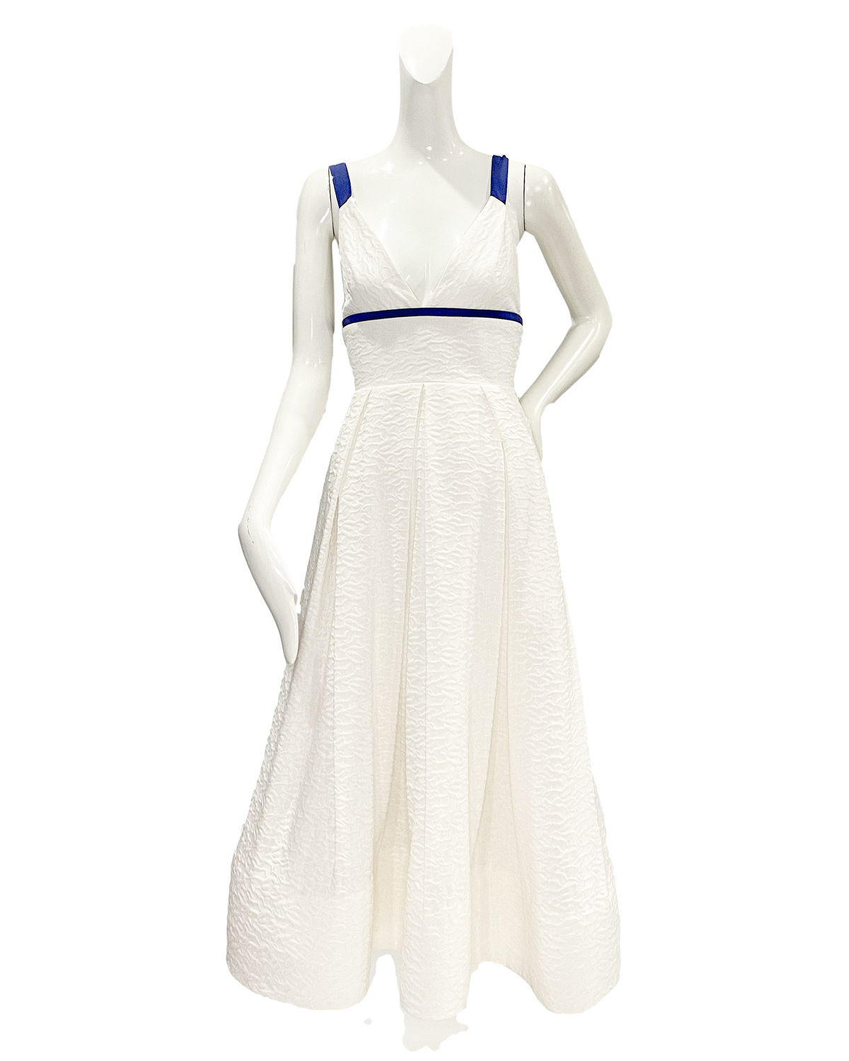 Tome Dress | White Silk Linen with Navy Trime