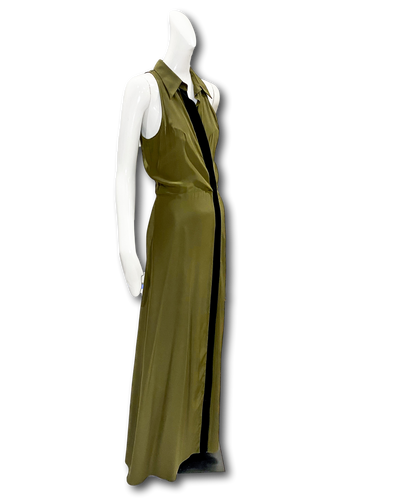 Placitas Gown | Olive with velvet Trim
