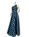 Nak Gown | Metallic Teal & Black Stripe
