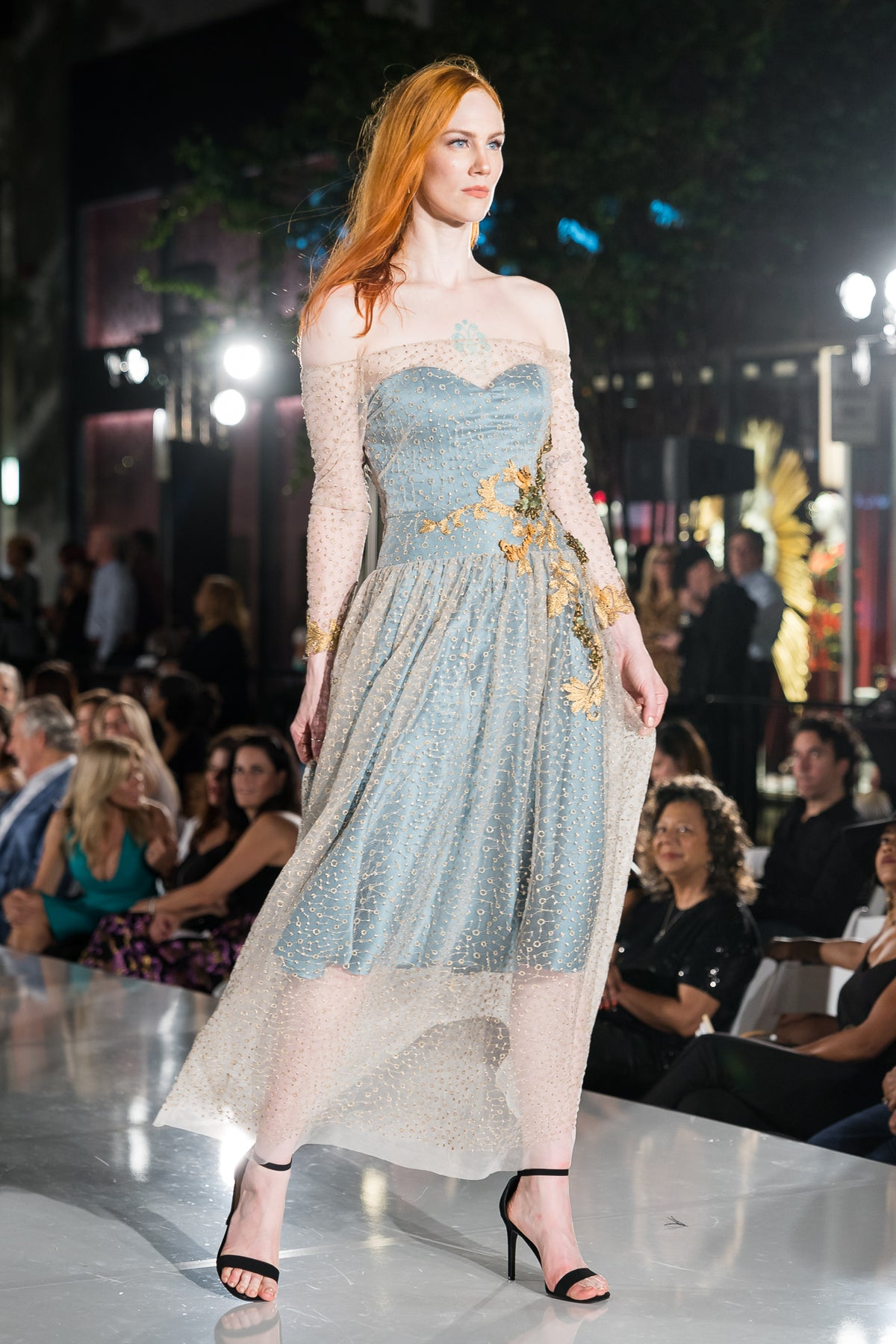Pema Dress | Dusty Teal with Gold Constellation Embroidery