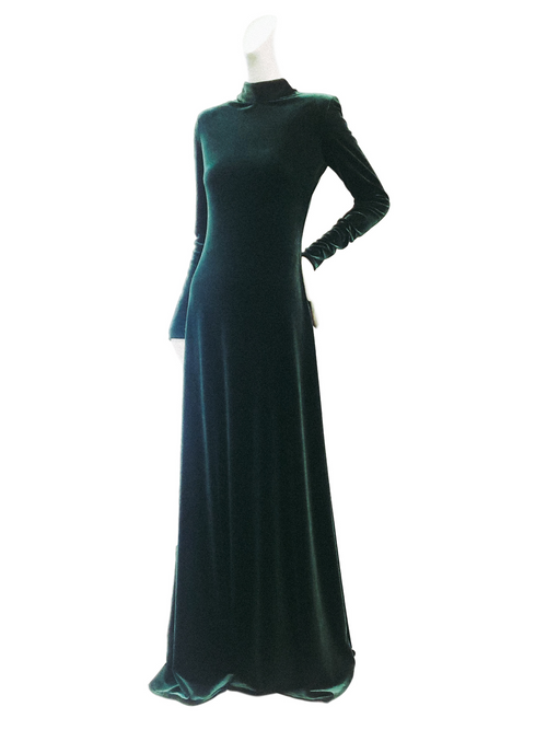 Guinevere Gown | Emerald Stretch Velvet