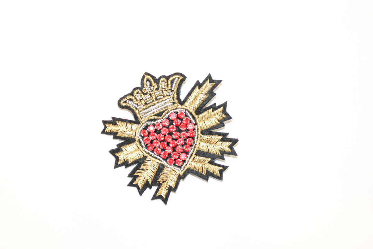 David Peck Crown Heart Lapel Pins and Crystal Brooches