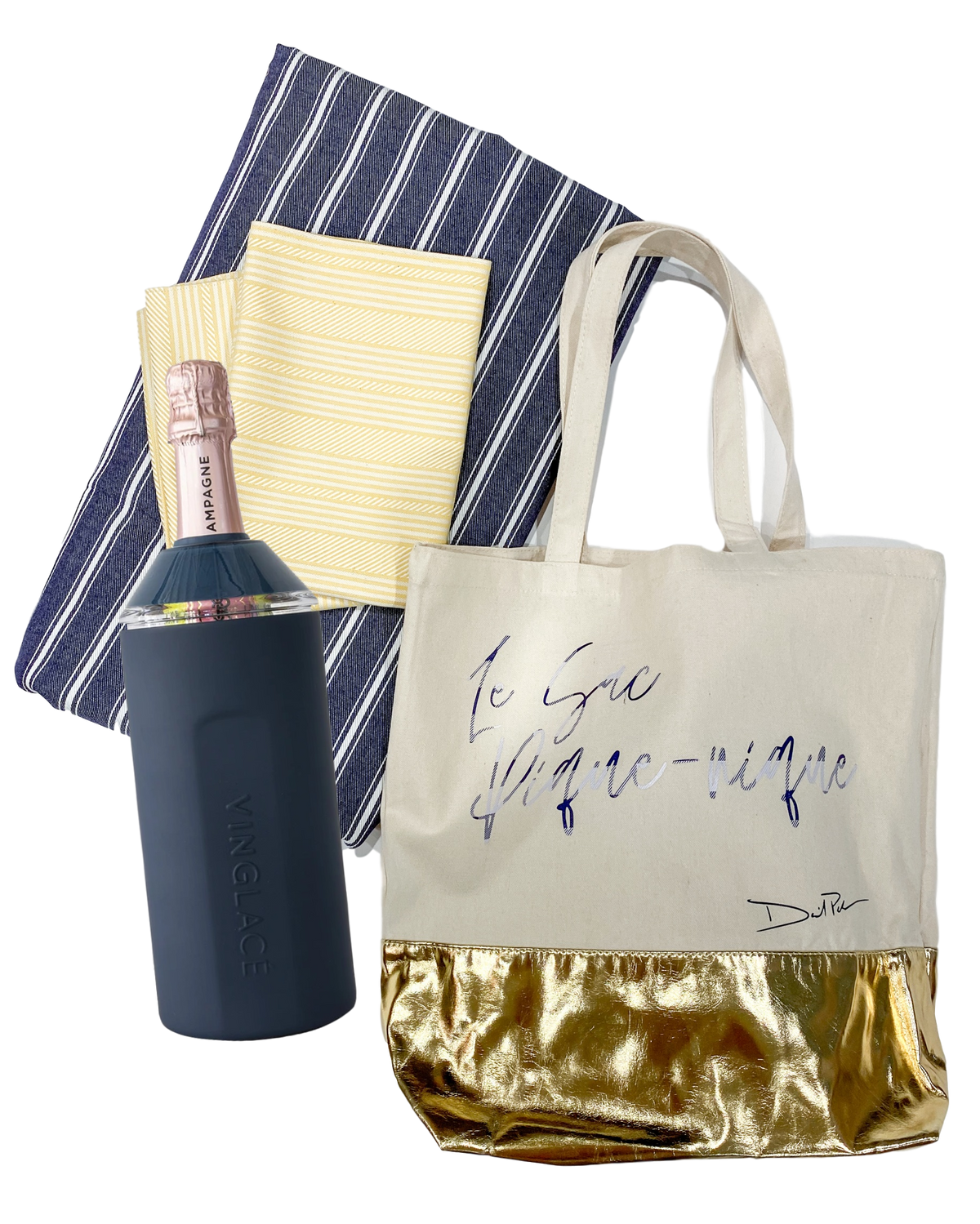 Picnic gift set with tablecloth, napkins, Vinglacé Wine Chiller, and customizable picnic bag by David Peck