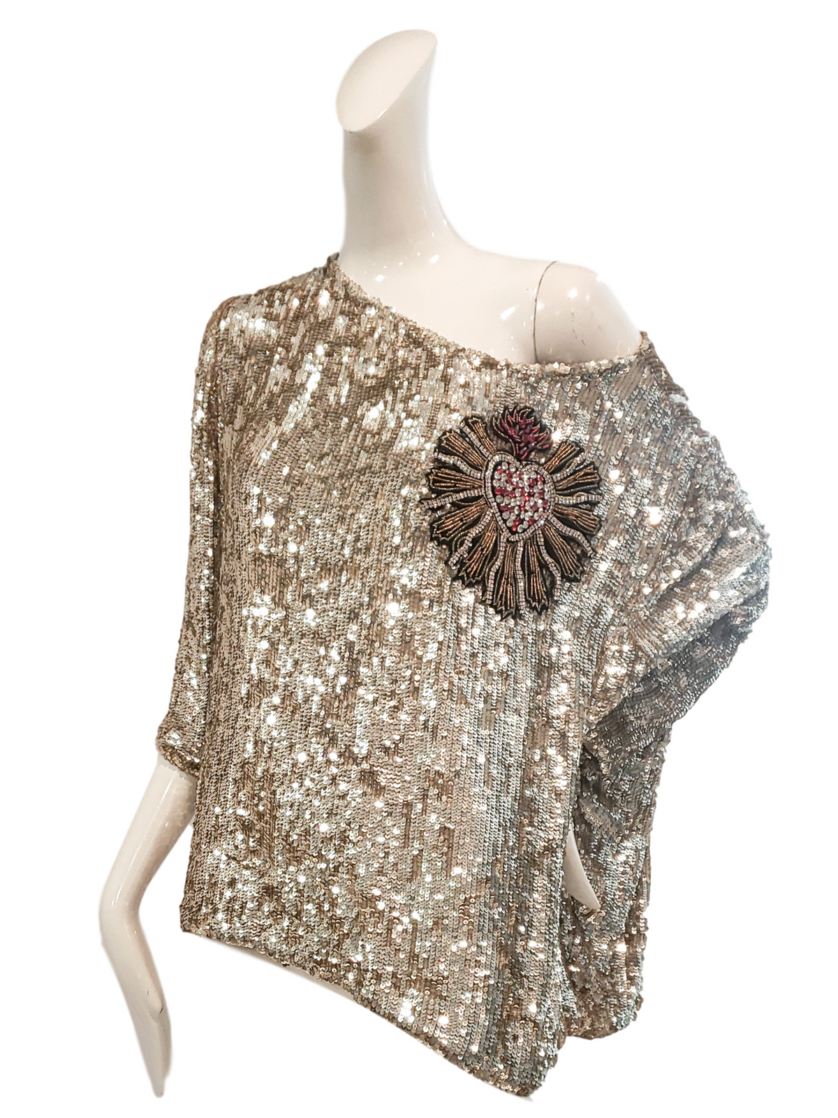 Schuyler Top | Gold Sequins with Embroidered Heart