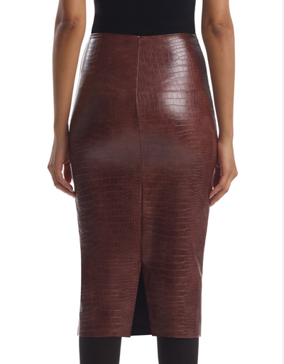 FAUX LEATHER ANIMAL MIDI SKIRT BROWN CROC