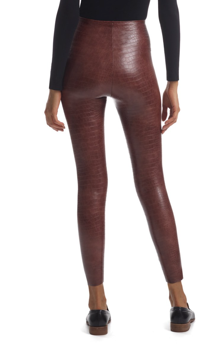 FAUX LEATHER ANIMAL LEGGING WITH PERFECT CONTROL BROWN CROC