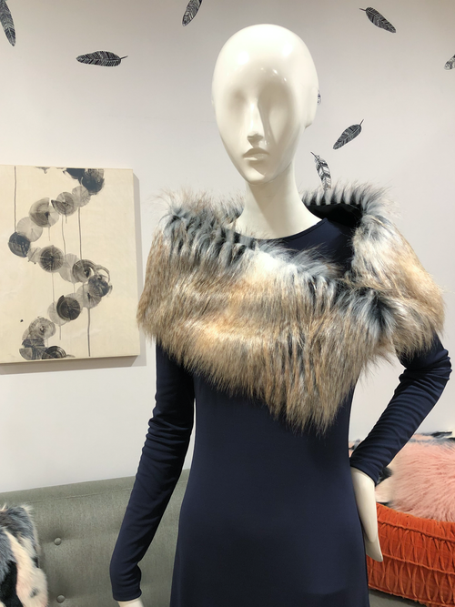 Stole | Cross Fox Faux Fur from Miles David by David Peck