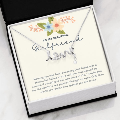 Rustic Floral Beautiful LOVE Necklace for a Girlfriend
