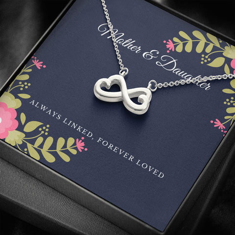 Mother and Daughter Forever Loved Infinity Heart Necklace
