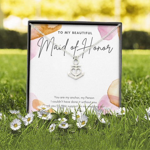Chic Watercolor Maid of Honor Thank You Anchor Necklace