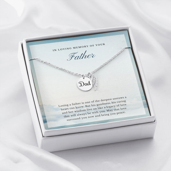Peaceful Clouds In Loving Memory of Your Father Angel Wing Necklace