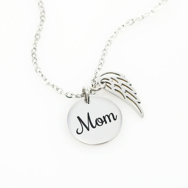 Peaceful Clouds In Loving Memory of Your Mother Angel Wing Necklace