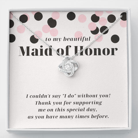Modern Confetti Thank You Maid Of Honor Love Knot Necklace