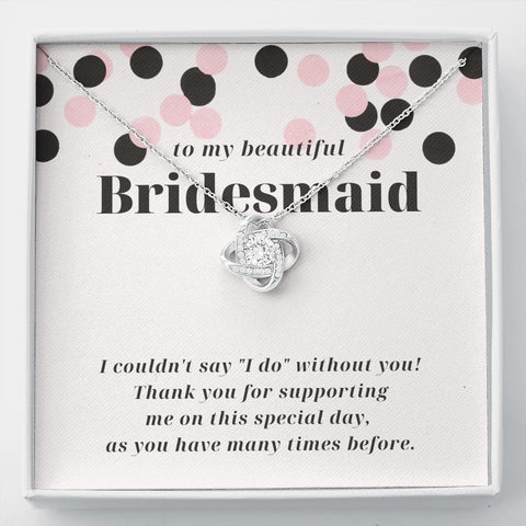 Modern Confetti Thank You Bridesmaid Love Knot Necklace