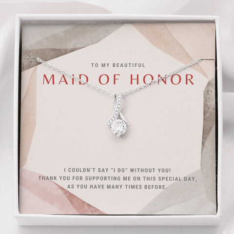 High Fashion Maid of Honor Ribbon Necklace