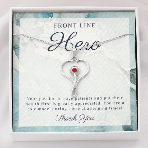 Blue Marble Front Line Hero Thank You Stethoscope Necklace