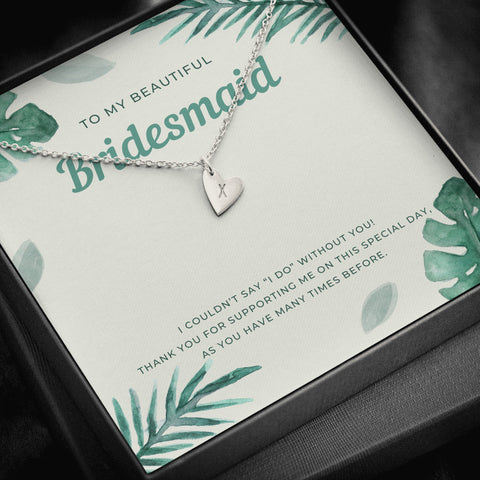 Tropical Destination Bridesmaid Initial Heart Necklace