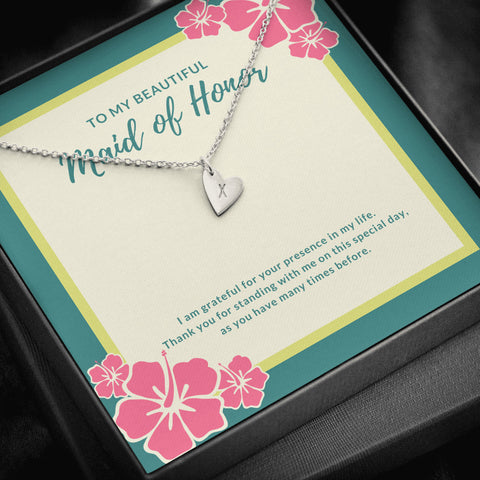 Hibiscus Flowers Maid of Honor Initial Heart Necklace