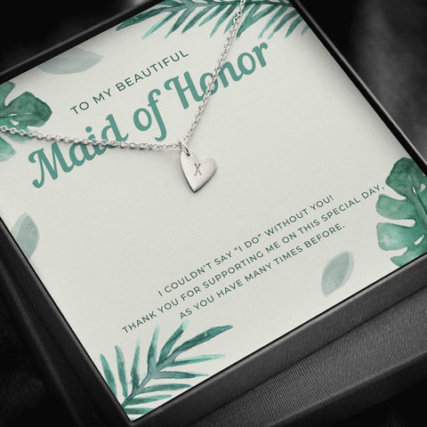 Tropical Destination Maid of Honor Initial Heart Necklace