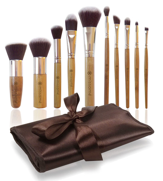 10 Pcs Makeup Brush Set in Bamboo