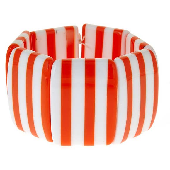 Tracy White and Orange Striped Bracelet