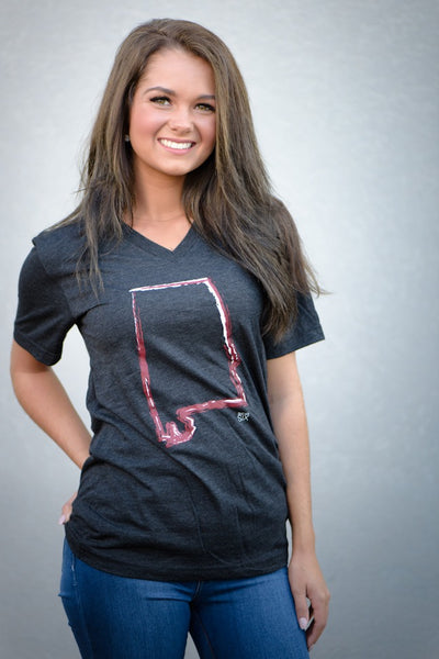 Alabama Outline on Charcoal Vneck