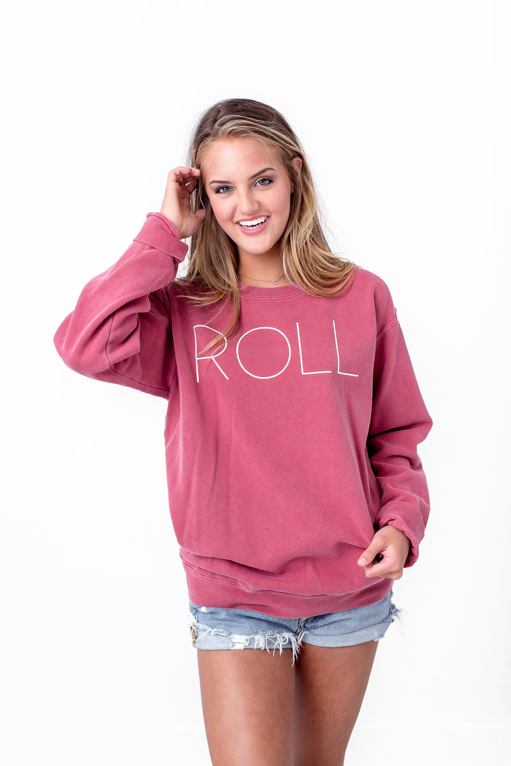 Roll Sweatshirt on Crimson
