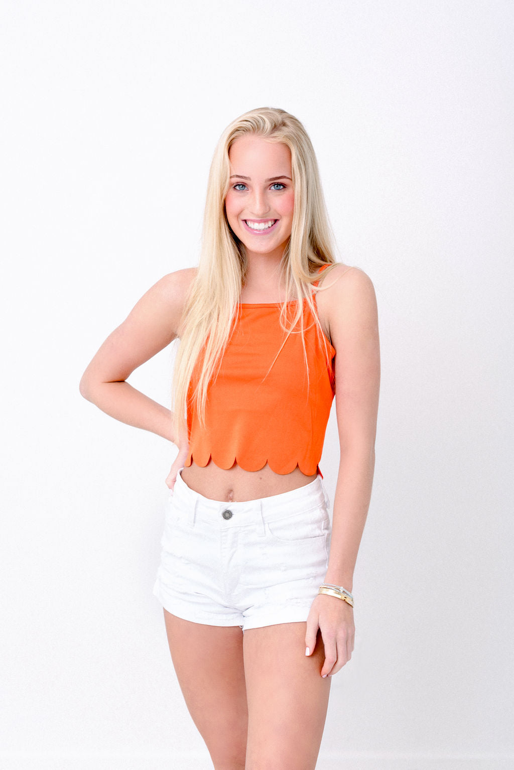 Orange Scallop Hem Top