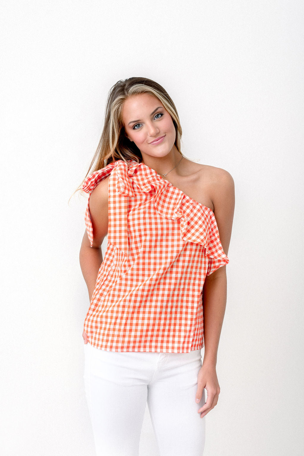 One Shoulder Gingham Top
