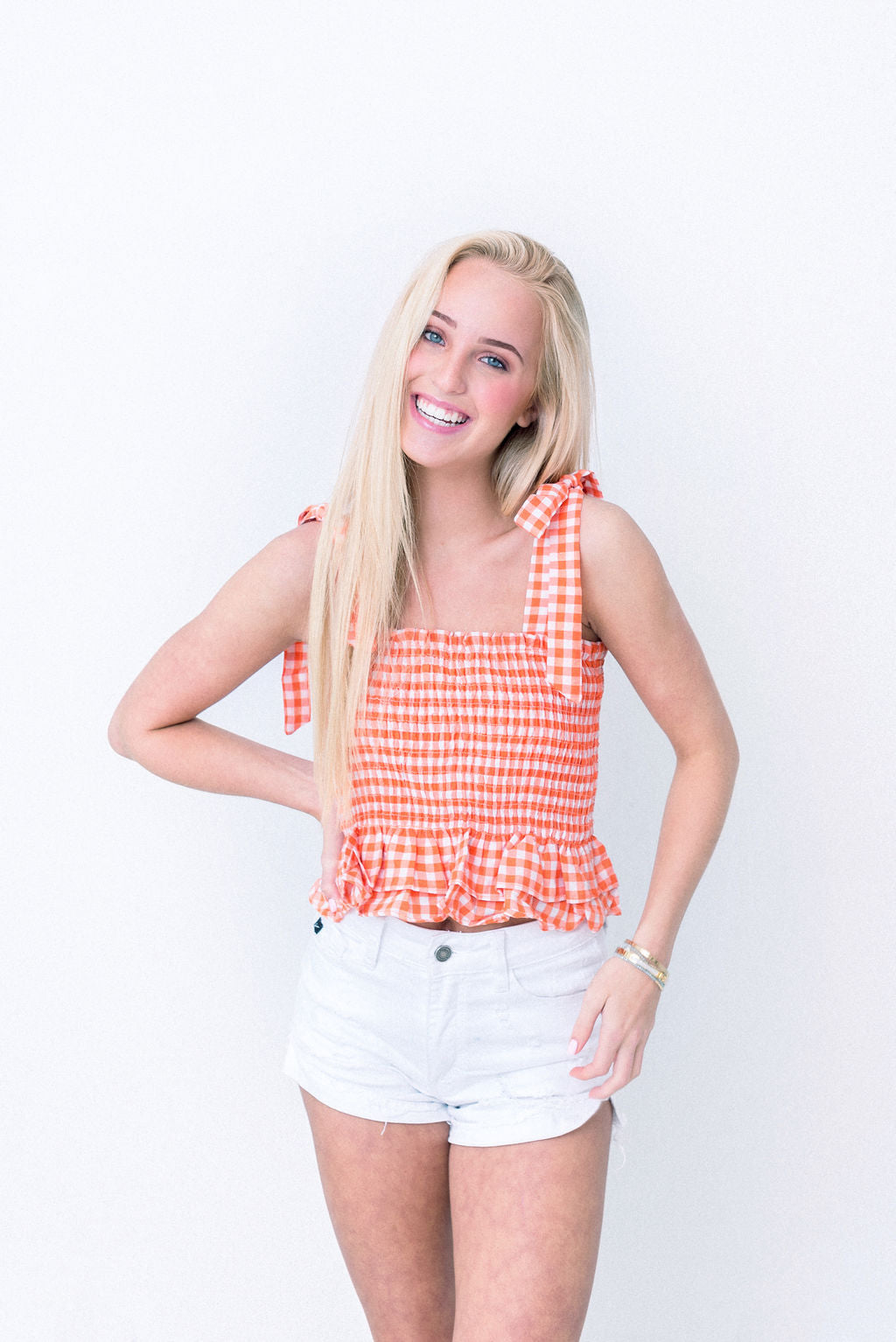 Gingham Tie Shoulder Crop