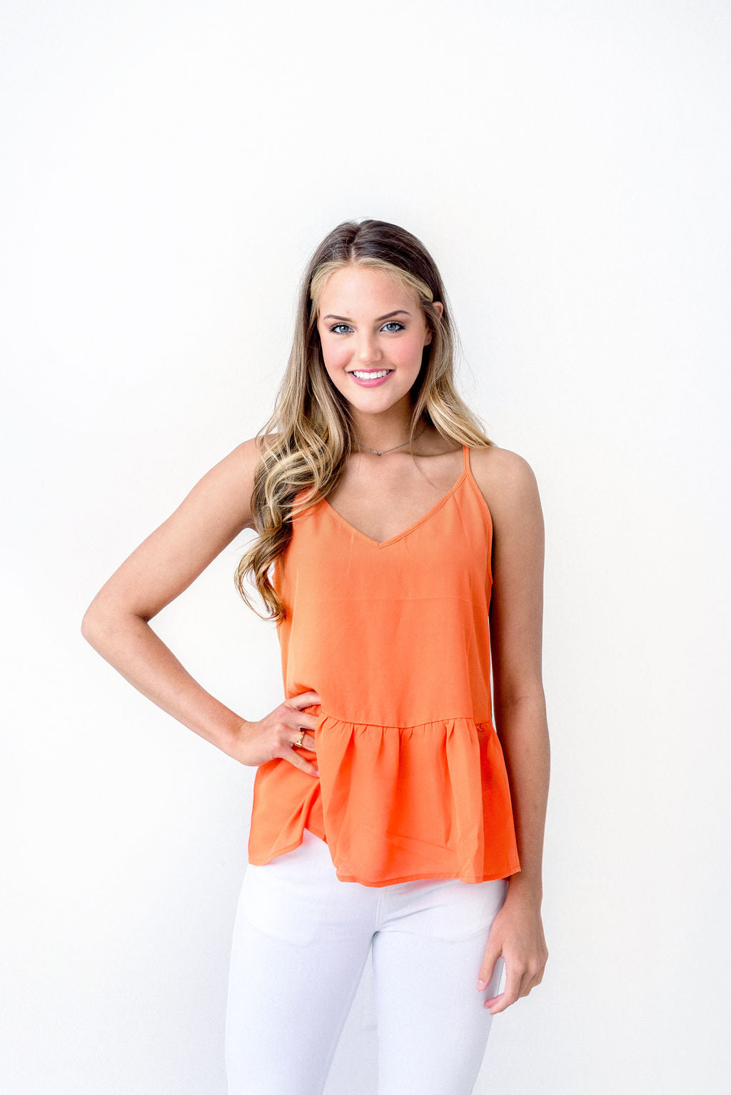 Orange Racerback Peplum Top