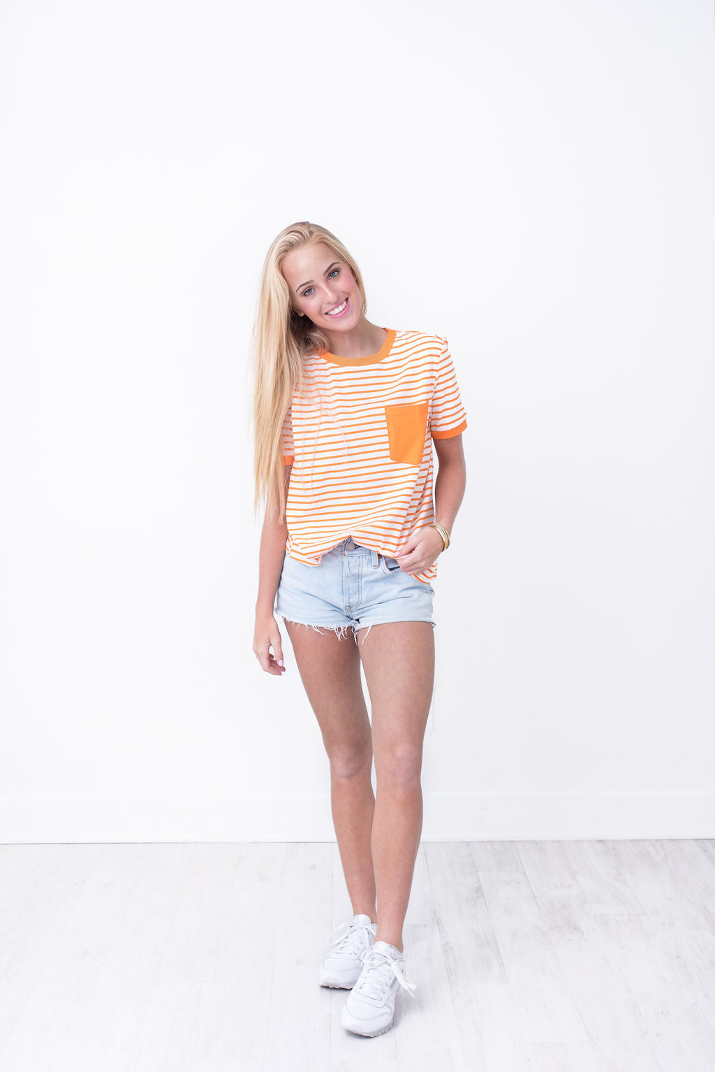 Orange Pocket Striped Tee