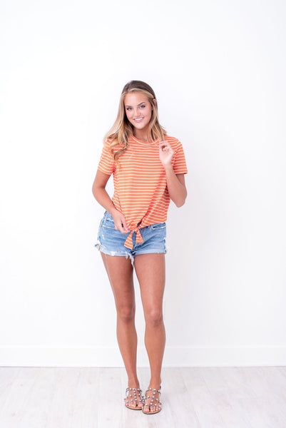 Orange Striped Knot Tee