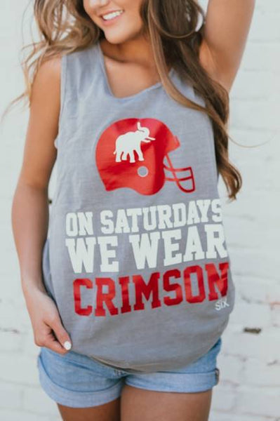 On Saturdays Crimson Comfort Colors Tank