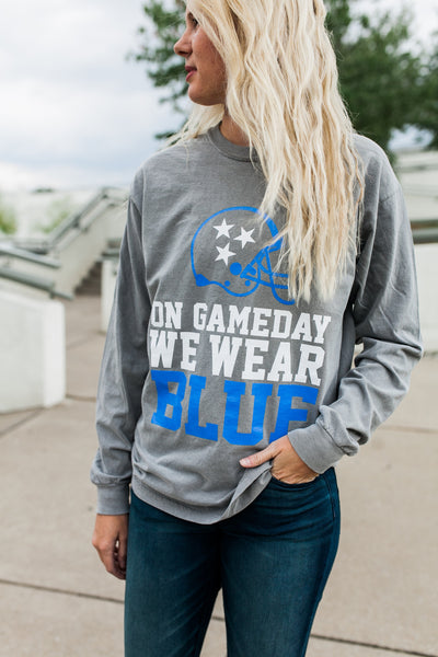 On Gameday We Wear Blue Tristar Long Sleeve