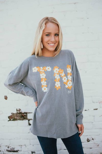 TN Daisy Over-sized Grey Tee