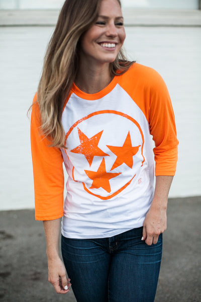 Tristar Orange and White Baseball T