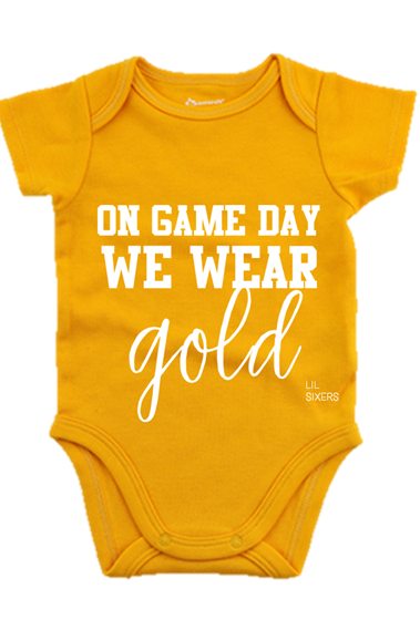 Lil' On Game Day Gold Onesie