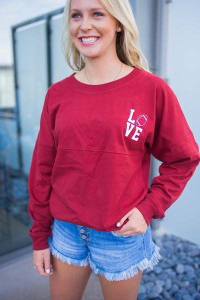 Love Crimson Long Sleeve Tee