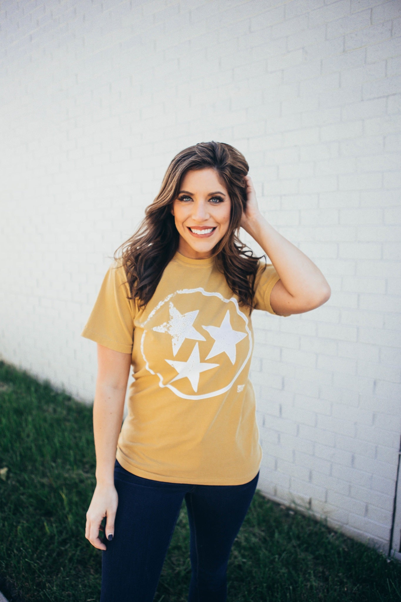 Tristar Short Sleeve Tee in Gold