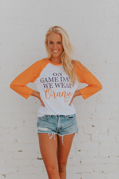 On Game Day Orange Raglan