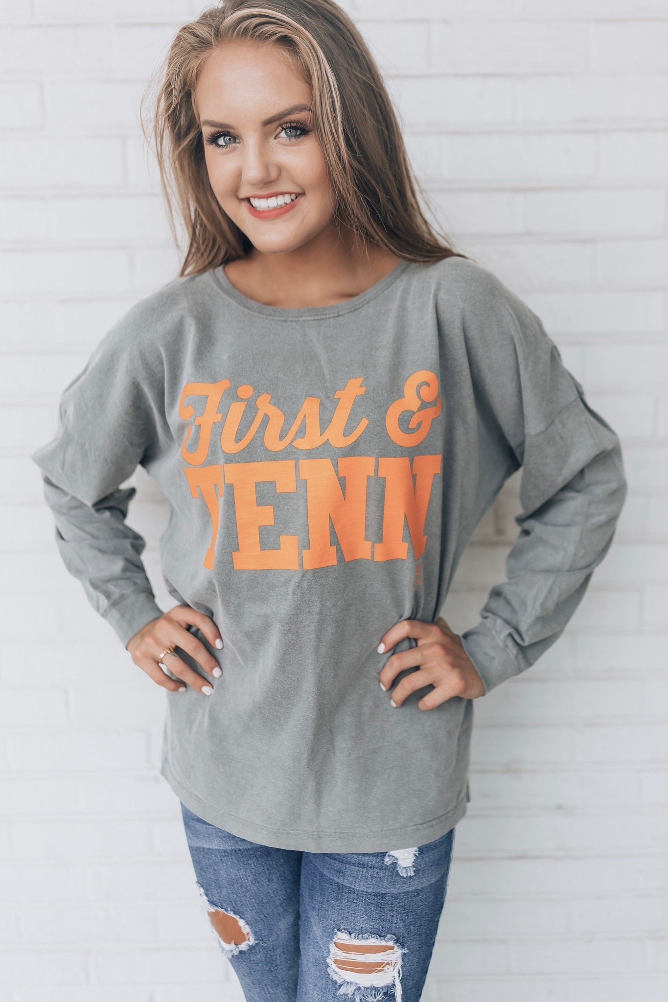 First & Tenn Over-sized Grey Tee