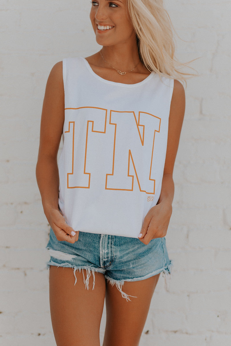 TN White Tank with Orange TN